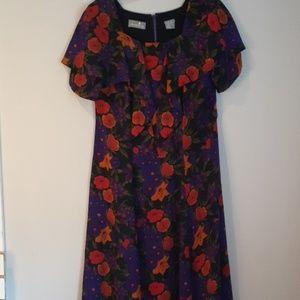 Liz Claiborne Floral Riffle Dress Size 10